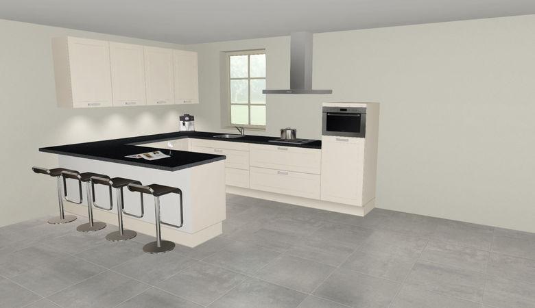 3D keuken Riesling u-keuken