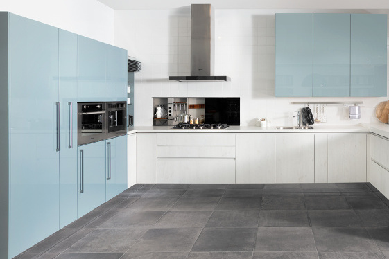 wandkast keuken blauw
