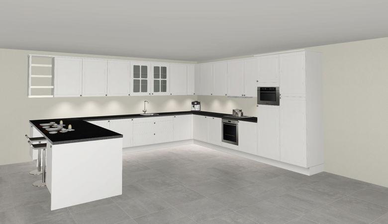 3D keuken Koblenz u-keuken