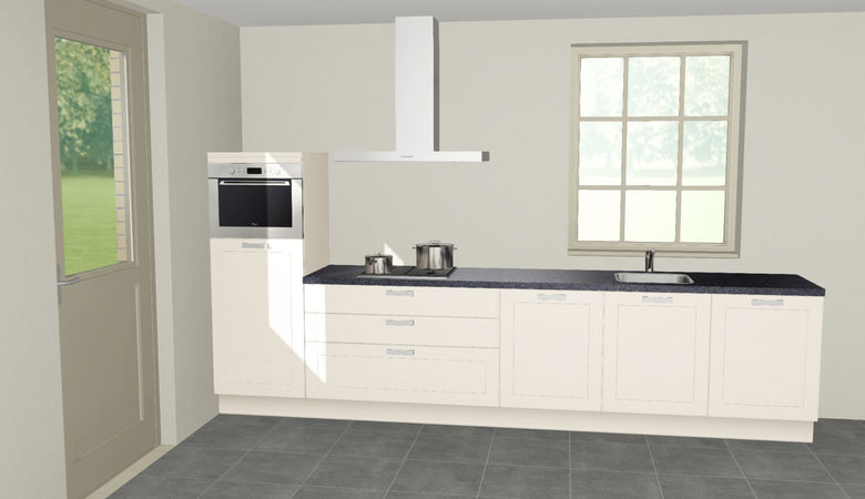 3D keuken Riesling rechte keuken